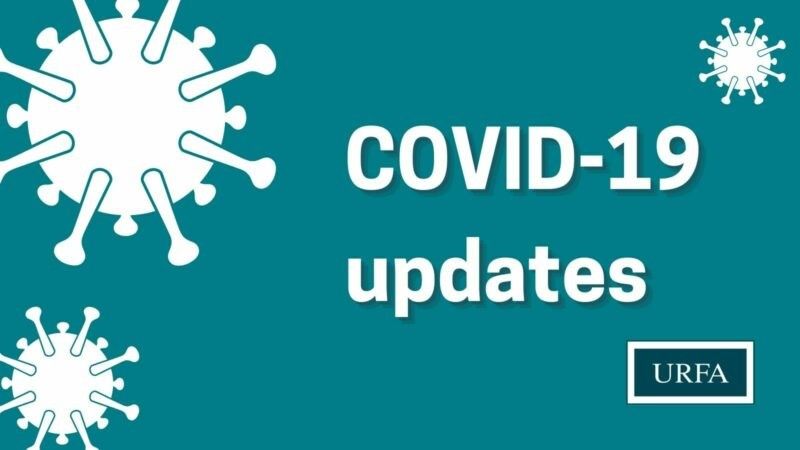 """Three graphics that look like COVID in left corners and top right corner. URFA logo bottom right corner. Text on right says, """"COVID-19 updates""""."""