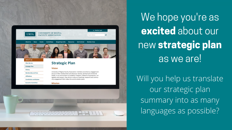 "On the left is a Mac computer showing the Strategic Plan web page on the URFA website. On the right, text reads: ""We hope you're as excited about our new strategic plan as we are! Will you help us translate our strategic plan summary into as many languages as possible?"""